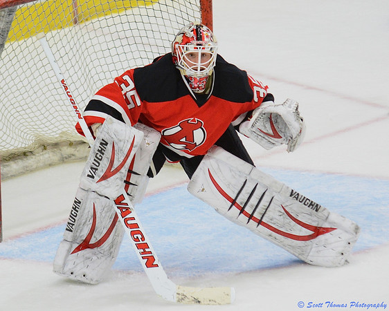 Albany Devils Keith Kinkaid (35) in goal against the Syracuse Crunch in the Onondaga County War Memorial on Saturday, March 16, 2013.