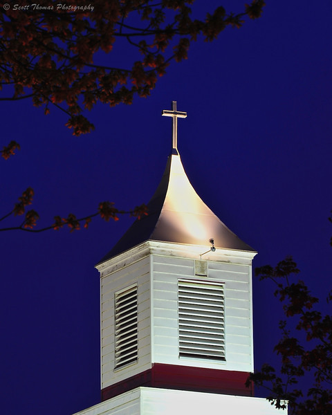 Liverpool First United Methodist Church steeple in Liverpool, New York.