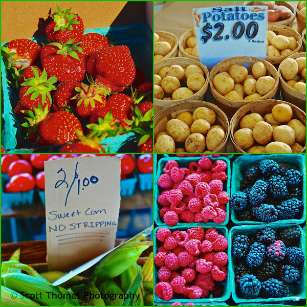 From top left, fresh picked strawberries, salt potatoes, raspberries and blackberries and early sweet corn.