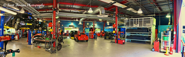 Panoramic view of the Lights, Motors, Action Extreme Stunt Show Garage.