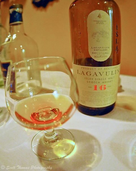 Lagavulin 16 Year Islay Single Malt Scotch Whisky, the author's favorite from The Suds Factory River Grill Diageo Whisky Tasting in Baldwinsville, New York.