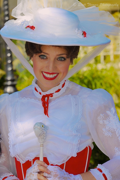 Mary Poppins giving a supercallifragilisticexpialidocious smile in Epcot's United Kingdom pavilion in Walt Disney World, Orlando, Florida.