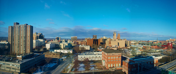 Panoramic view of a Sunday morning in Syracuse, New York from a high rise hotel.