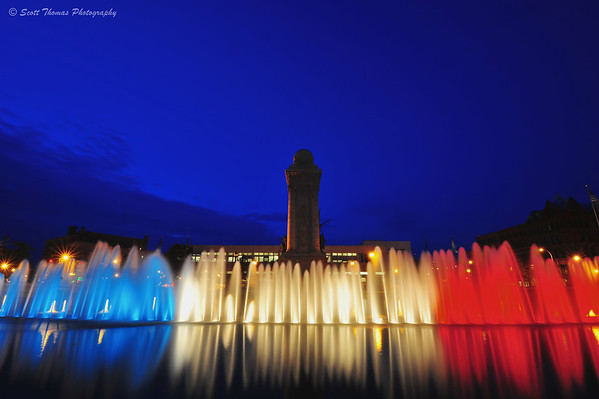 The fountains at Clinton Square in Syracuse, New York were lighted in Red, White and Blue this week in tribute to the heros and victims of 9/11.