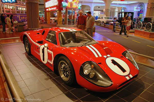 Red Ford GT-40 race car in the Henry Ford Museum, Dearborn, Michigan.