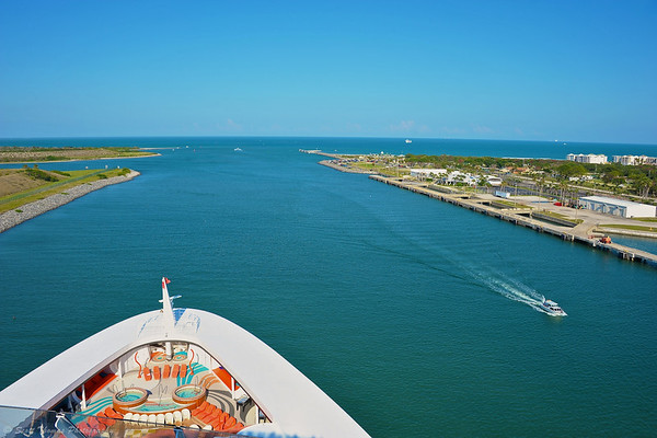 The bow of the Disney Dream heading out to sea from Port Canaveral, Florida.