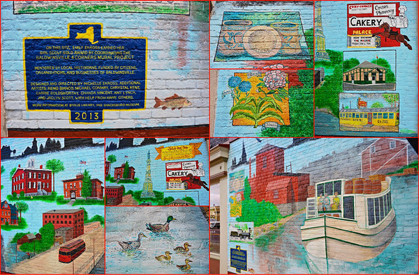 Details of the new 4 Corners Mural in Baldwinsville, New York.