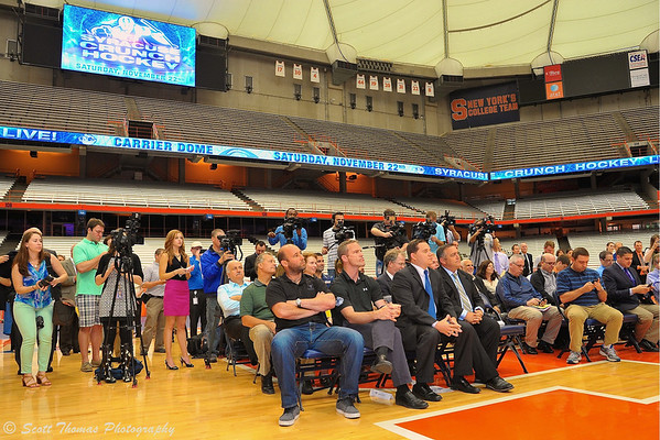 Fans, media and invited guests at the Syracuse Crunch Press Conference announcing the Frozen Dome Classic at the Carrier Dome on the Syracuse University campus in Syracuse, New York.