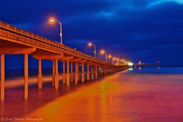 Ocean Beach Fisherman's Pier at night in San Diego, California.