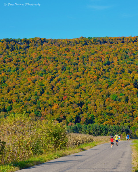 Apple Run 2011 runners enjoying an Indian Summer day near LaFayette, New York.