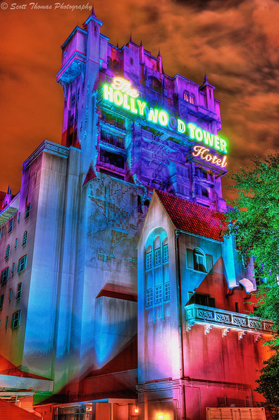 Night HDR Image of the Twilight Zone Tower of Terror in Disney's Hollywood Studios, Walt Disney World, Orlando, Florida.