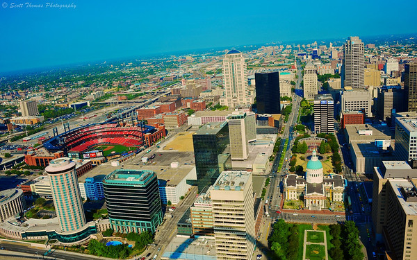 The view of St. Louis, Missouri from the top of the Gateway Arch.