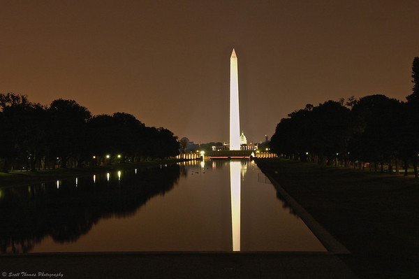 Washington Monument being reflected in the Reflection Pool in Washington, DC.