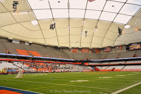 Photographing from the sidelines at the Carrier Dome in Syracuse, New York before the start of the NYSPHSAA Section III Boys Lacrosse Championship games.