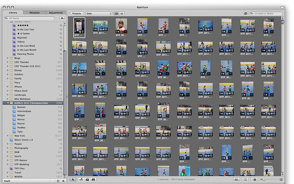 An Aperture 3 screen shot of some of the photos I am editing, processing and uploading for the NAMLA Championships.