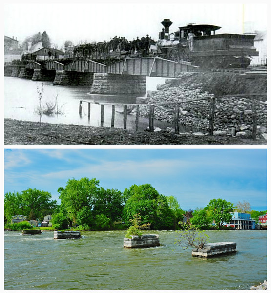 Syracuse and Baldwinsville Railroad Bridge, Than and Now. See text for full caption.