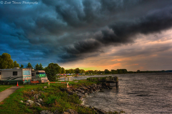 The leading edge to a cold front creeps over Lakefront Park in Geneva, New York.