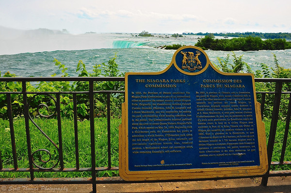 Niagara Parks Commission informational plaque overlooking Horseshoe Falls at Niagara Falls, Ontario, Canada.