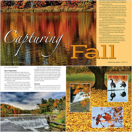Page snippets from the Capturing Fall article in Celebrate Home magazine.