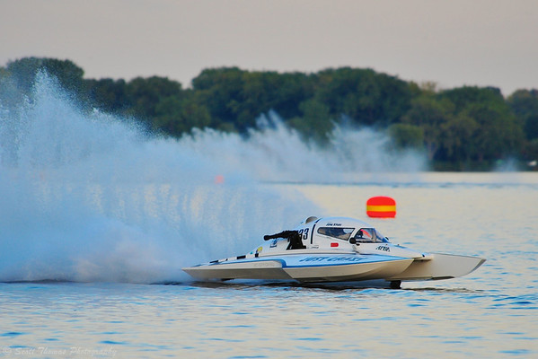 John Krebs drives the National Modifed Just Crazy (NM-233) at the HydroBowl on Seneca Lake in Geneva, New York.