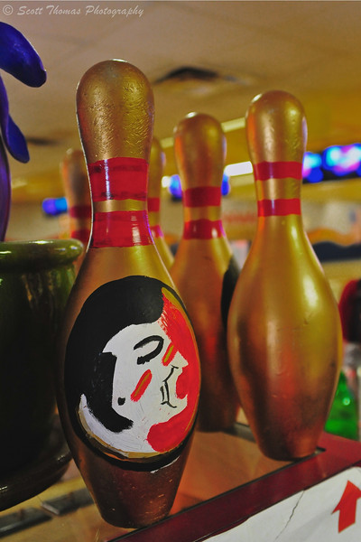 Painted pins found in Crenshaw Lanes on the Florida State University campus in Tallahassee, Florida.
