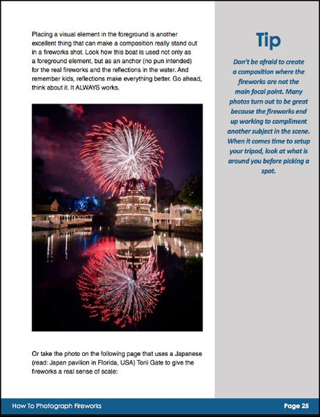 A page from the Composition Chapter of the Fireworks Photography eBook