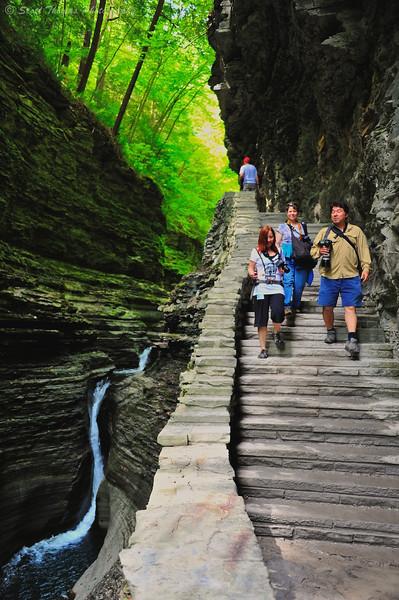 Photographers on the Gorge Trail in Watkins Glen State Park, Watkins Glen, New York.