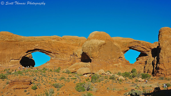 The North and South Window Arches in Arches National Park near Moab, Utah.