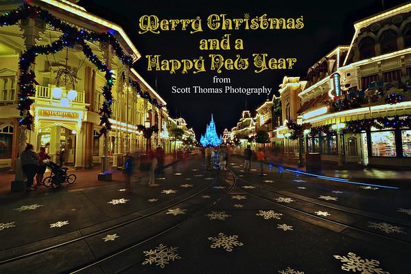 Main Street USA at Christmas time in the Magic Kingdom at Walt Disney World, Orlando, Florida.