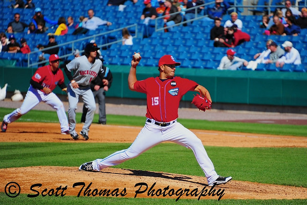 Syracuse Chiefs pitcher Yunesky Maya (15) earns the win against the Rochester Red Wings in Alliance Bank Stadium, Syracuse, New York.