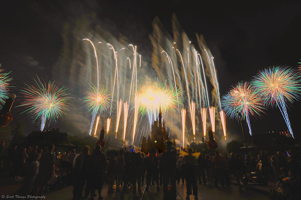 HalloWishes finale featuring perimeter fireworks in the Magic Kingdom.