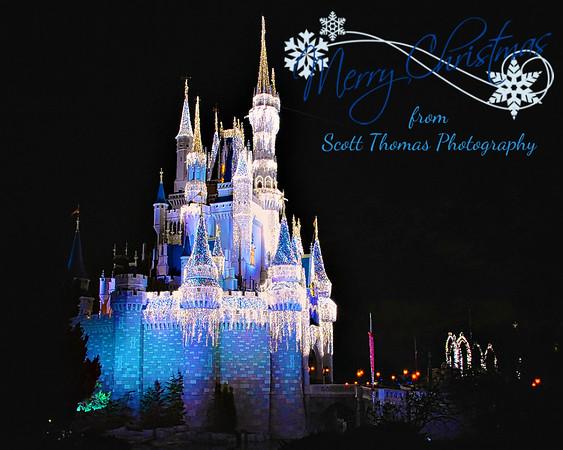 Cinderella Castle in Dream Lights at the Magic Kingdom in Walt Disney World, Orlando,  Florida.