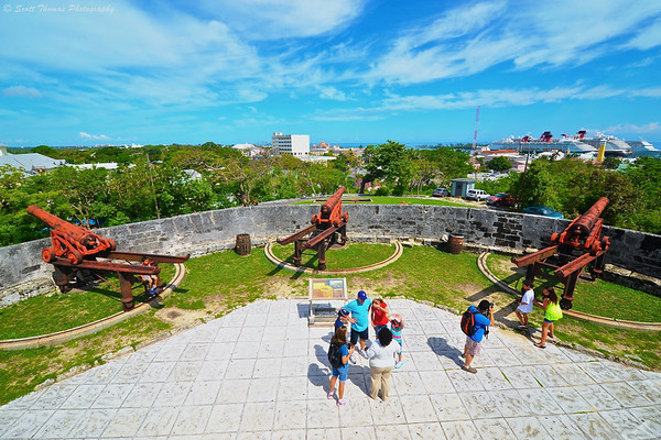 View from Fort Fincastle of Nassau, Bahamas. The canons are replicas.