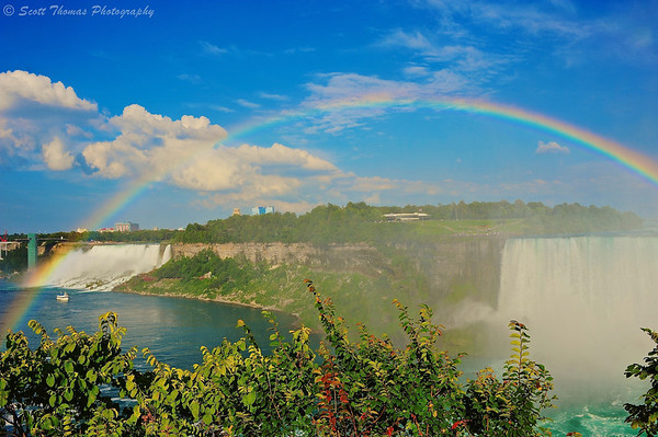 Rainbow over the American and Horseshoe Falls in Niagara Falls, Ontario, Canada.