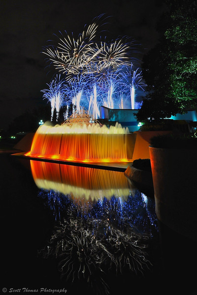 Journey into Imagination's Reverse Waterfall as Illuminations fireworks explode overhead.