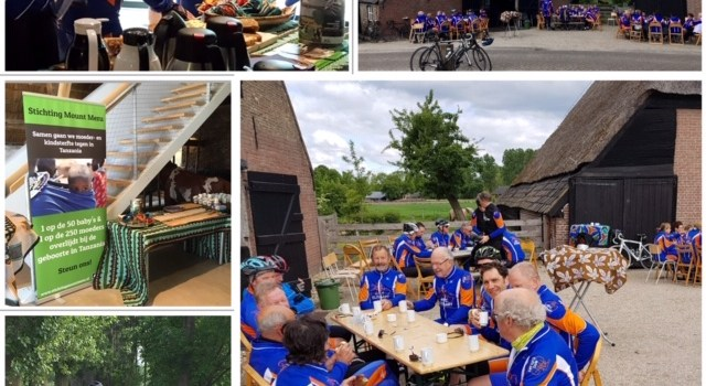 Cycling club drinks coffee for the Mount Meru Foundation!