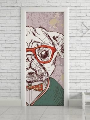 Adesivo de Porta Pug Hipster