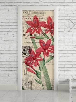 Adesivo de Porta Vintage Flores