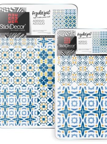 KIT de Adesivo Azulejo Amarelo Azul e Branco