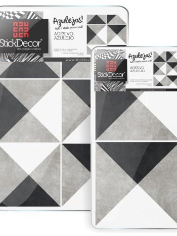 KIT de Adesivo Azulejo Preto Branco e Cinza