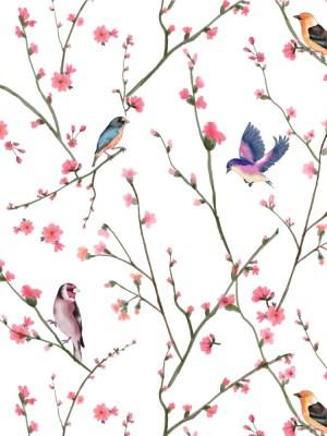 Papel de Parede Adesivo Floral Passarinhos