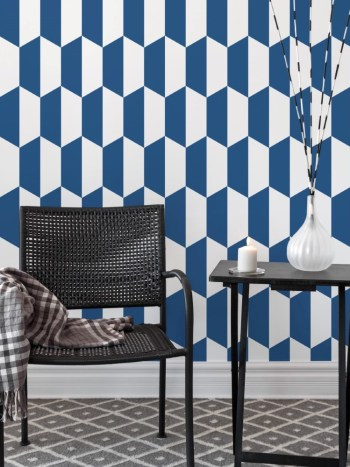 Papel de Parede Geométrico Azul e Branco 041