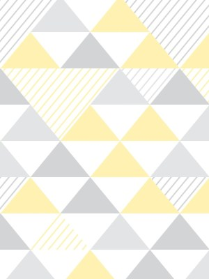 Papel de Parede Adesivo Geométrico Triangulos Amarelo e Cinza