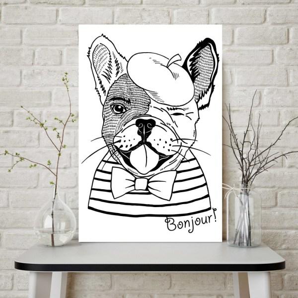 Placa Decorativa Bulldog Hipster Bonjour