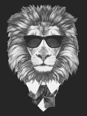 Placa Decorativa Leão Black