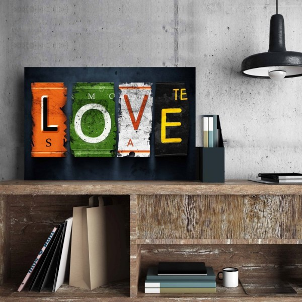 Placa Decorativa Vintage Love