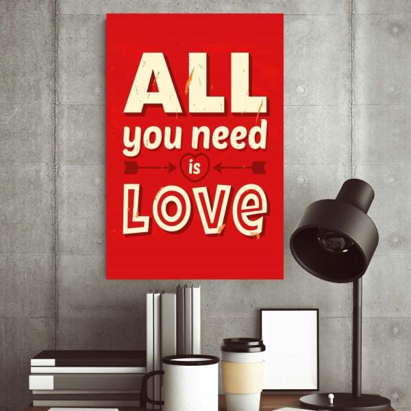 Placa Decorativa Vintage Love
