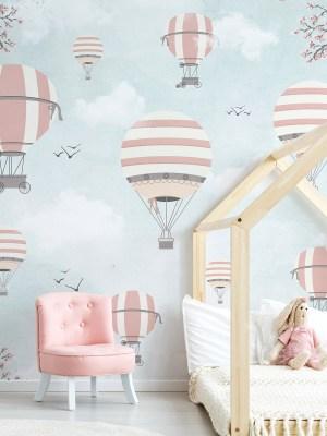 Painel Fotográfico Infantil Lúdico Balões Rosa e Cinza