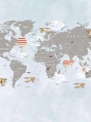 Painel Fotográfico Mapa Mundi Balões Vermelho