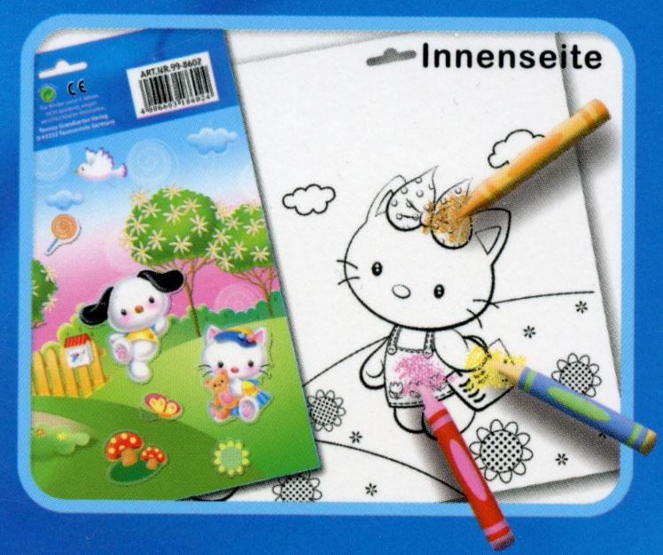 Malvorlage mit Stickern Kuh - Aufkleber Album Heft